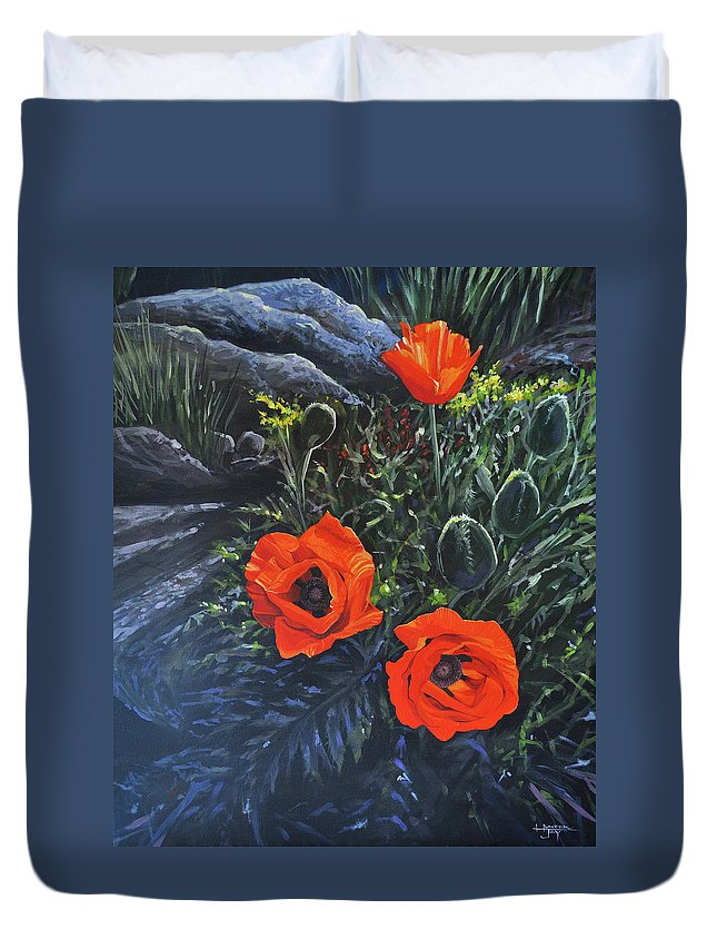 Poppy Duvet Cover featuring the painting Flame of the West by Hunter Jay