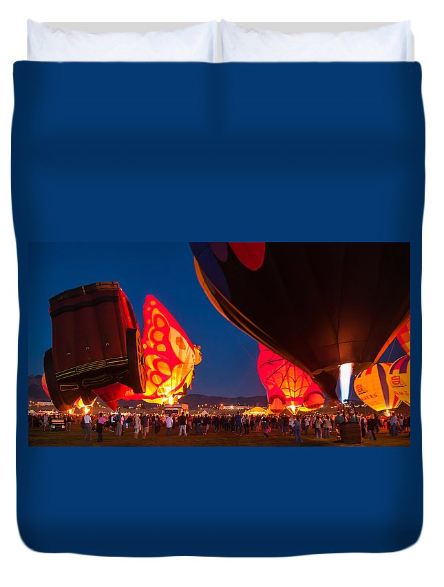Hot Air Balloons Duvet Cover featuring the photograph Flame On by Charles McCleanon