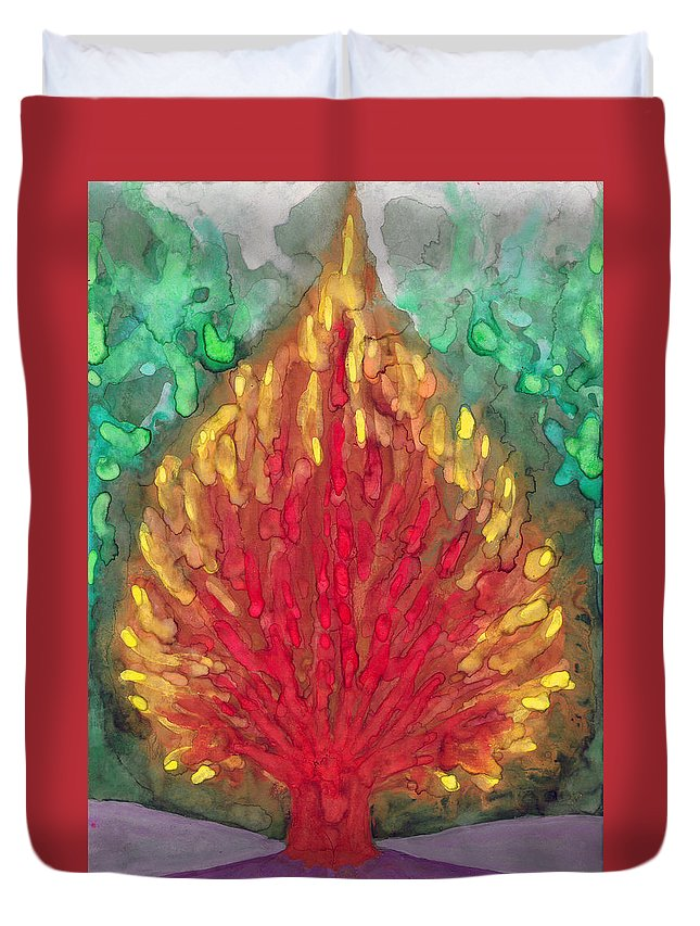 Colour Duvet Cover featuring the painting Flame by Wojtek Kowalski