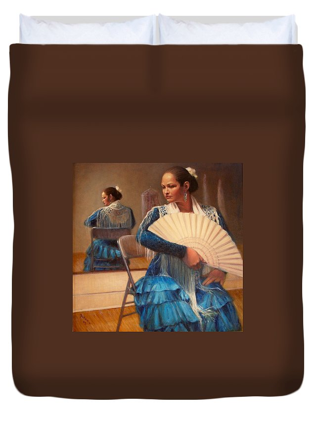 Realism Duvet Cover featuring the painting Flamenco 1 by Donelli DiMaria