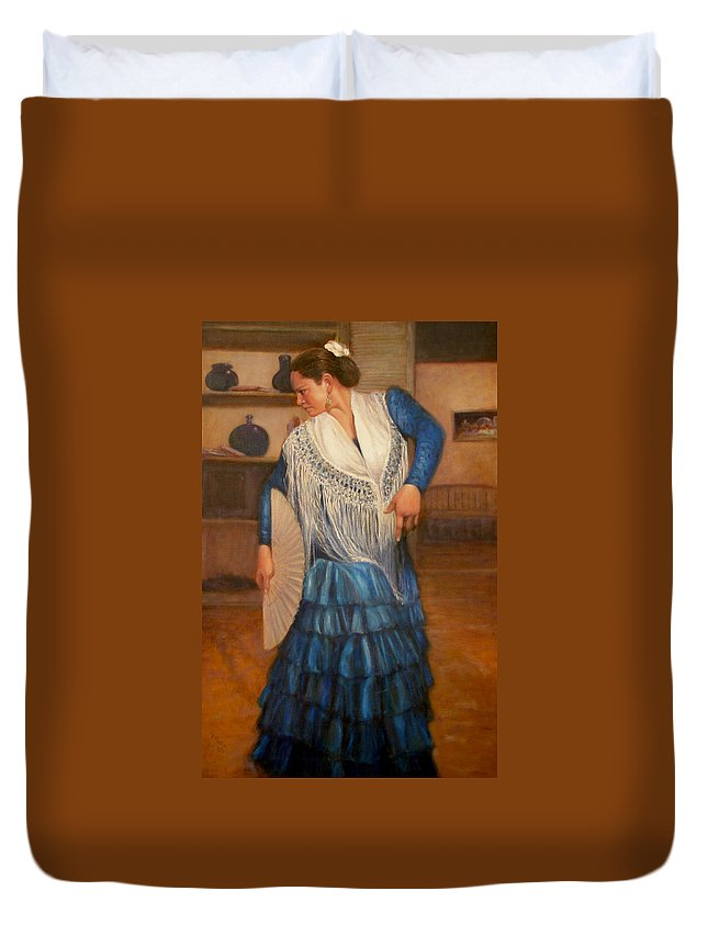 Realism Duvet Cover featuring the painting Flamenco 2 by Donelli DiMaria