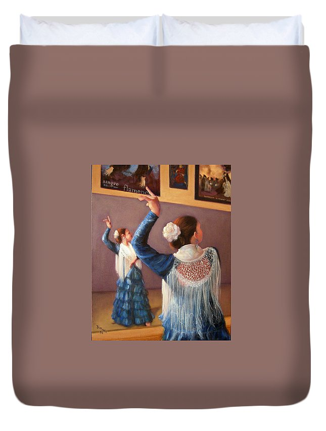 Realism Duvet Cover featuring the painting Flamenco 7 by Donelli DiMaria