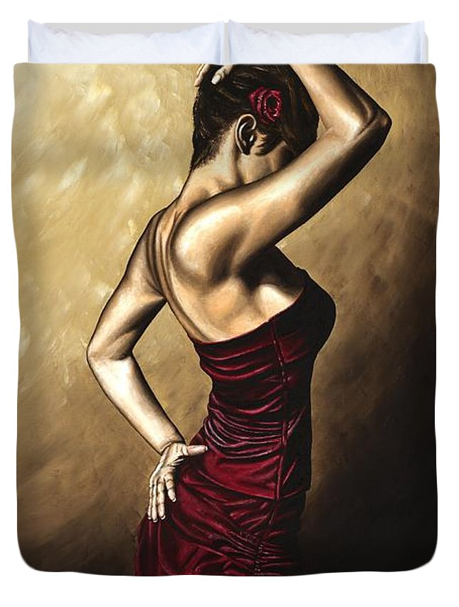 Flamenco Duvet Cover featuring the painting Flamenco Woman by Richard Young