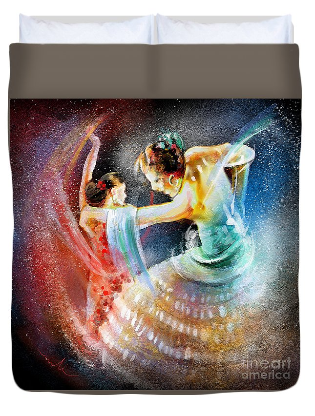 Flamenco Duvet Cover featuring the painting Flamencoscape 06 by Miki De Goodaboom
