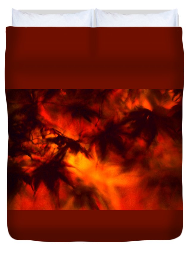 Leaves. Leaf Duvet Cover featuring the photograph Flames by Gary Bartoloni