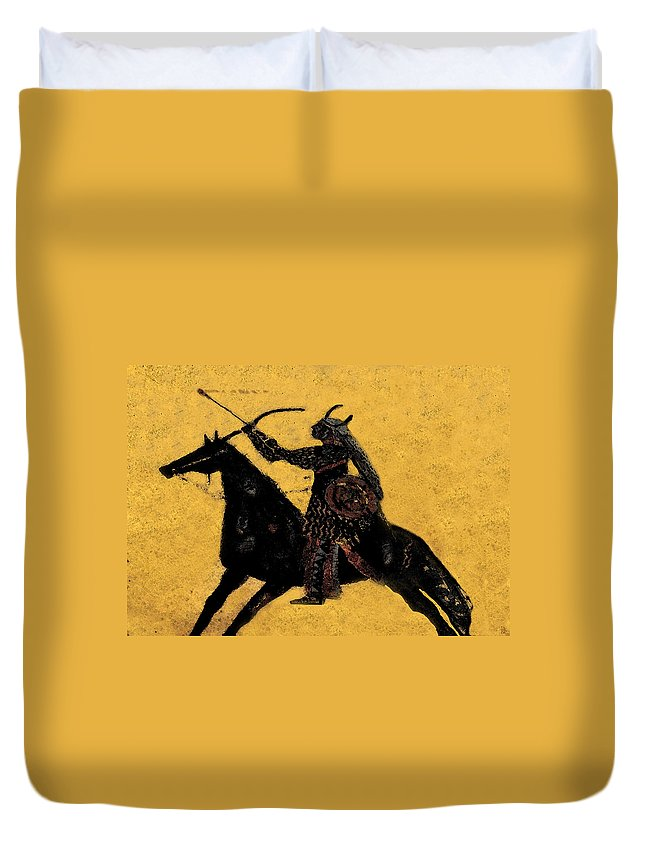 Flaming Arrow Duvet Cover featuring the painting Flaming Arrow by David Lee Thompson