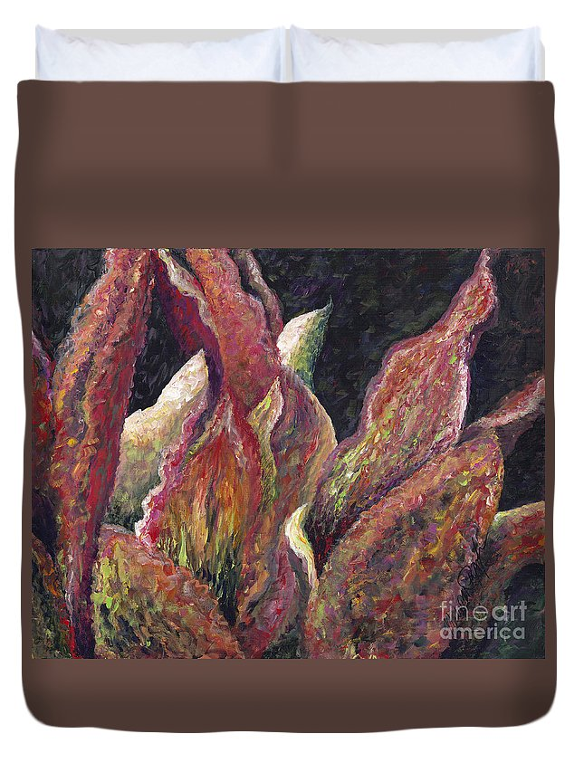 Leaves Duvet Cover featuring the painting Flaming Leaves by Nadine Rippelmeyer