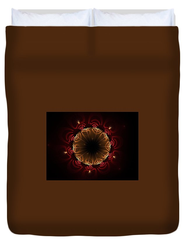 Fractal Duvet Cover featuring the digital art Flaming Night Flower by Aunita Tyler