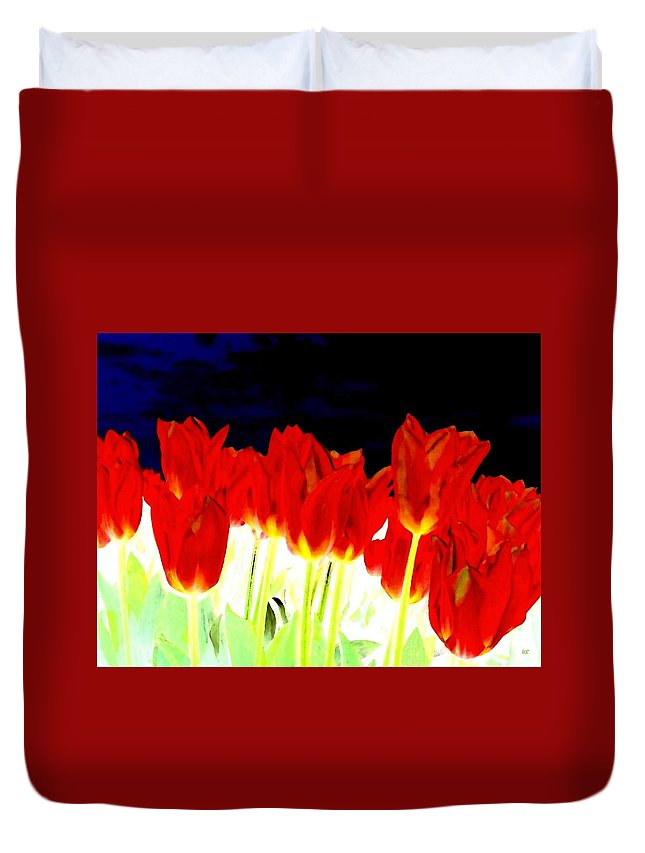 Red Tulips Duvet Cover featuring the digital art Flaming Red Tulips by Will Borden
