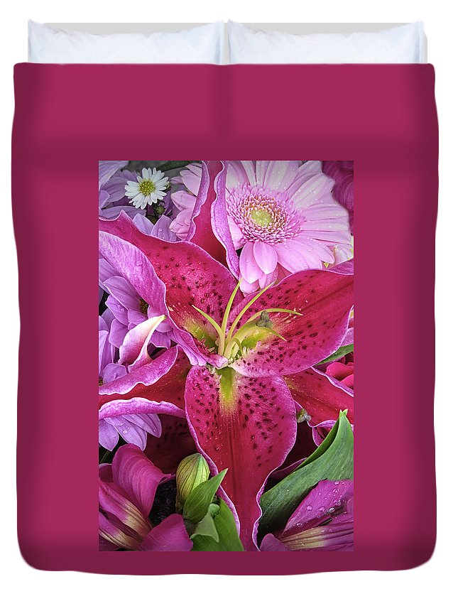 Lily Duvet Cover featuring the photograph Flaming Tiger Lily by Dave Mills