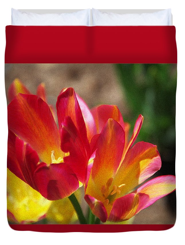 Tulips Duvet Cover featuring the painting Flaming Tulips by Jeffrey Kolker
