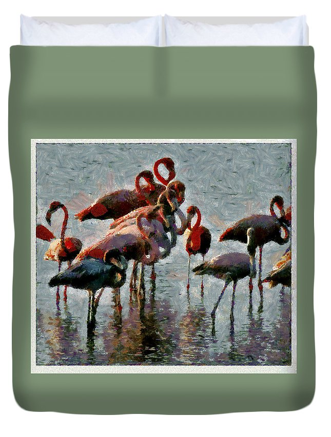 Flamingos Red Birds Wather Reflects Duvet Cover featuring the photograph Flamingo Family by Galeria Trompiz