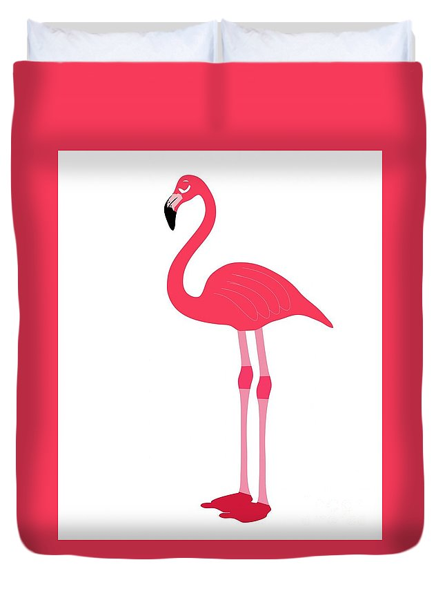 Animal Duvet Cover featuring the digital art Flamingo by Frederick Holiday