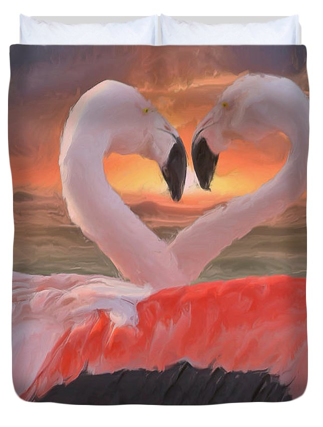 Duvet Cover featuring the painting Flamingo Love by Damiano Navanzati