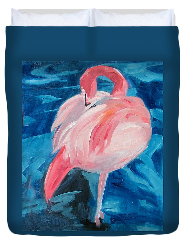 Tropical Duvet Cover featuring the painting Flamingo by Neal Smith-Willow