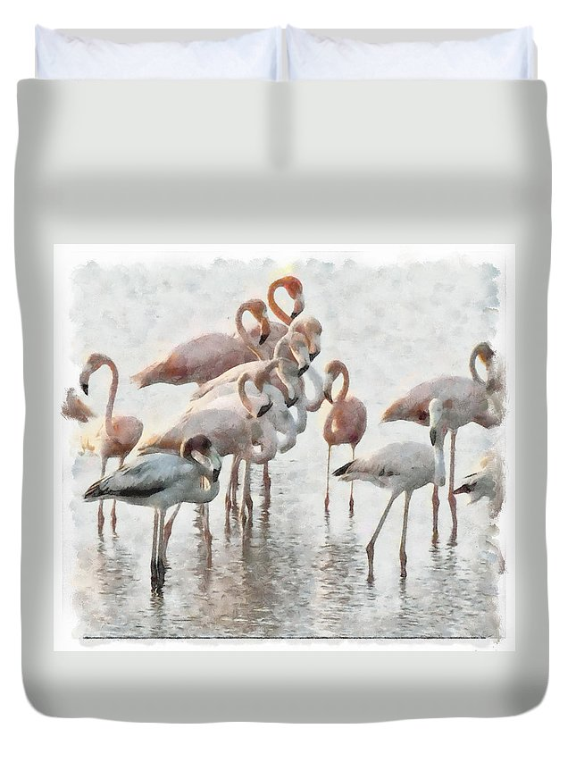 Flamingos Red Birds Wather Reflects Duvet Cover featuring the photograph Flamingos Family by Galeria Trompiz