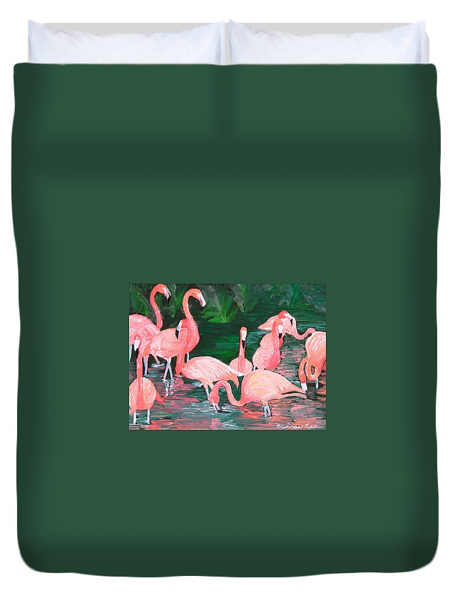 Flamingos Duvet Cover featuring the painting Flamingos by Michael Lee