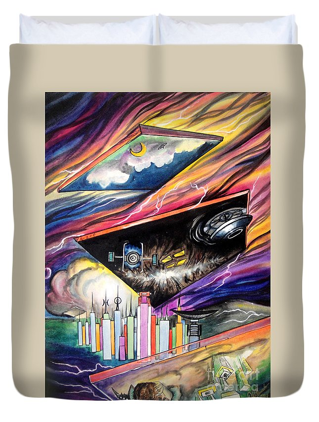 Ground Zero Duvet Cover featuring the painting Flat Space. Total Ground Zero by Sofia Metal Queen