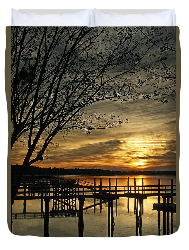 Sunset Duvet Cover featuring the photograph Flat Water by Phill Doherty