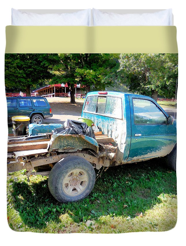 Flatbed Truck Duvet Cover featuring the painting Flatbed Truck by Jeelan Clark