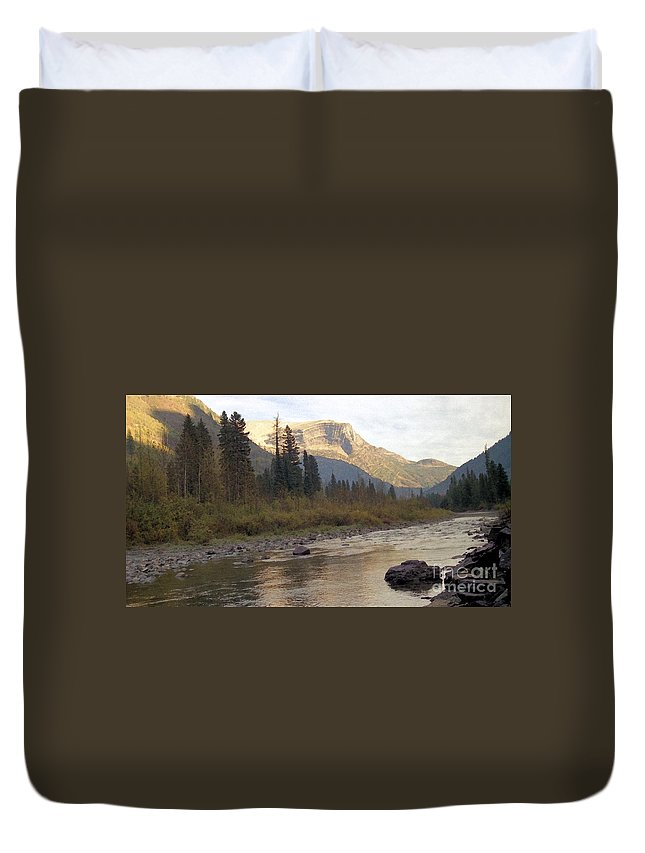 Flathead River Duvet Cover featuring the mixed media Flathead River by Richard Rizzo