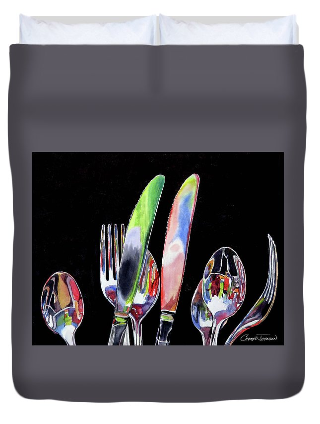 Flatware Duvet Cover featuring the painting Flatware Fiesta by Cheryl Johnson
