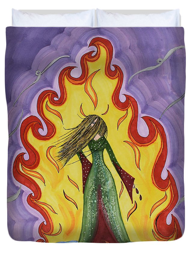 Fire Flames Girl Wind Duvet Cover featuring the drawing Fleams by Angelina Sachs
