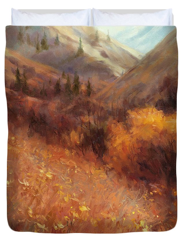 Autumn Duvet Cover featuring the painting Flecks Of Gold by Steve Henderson