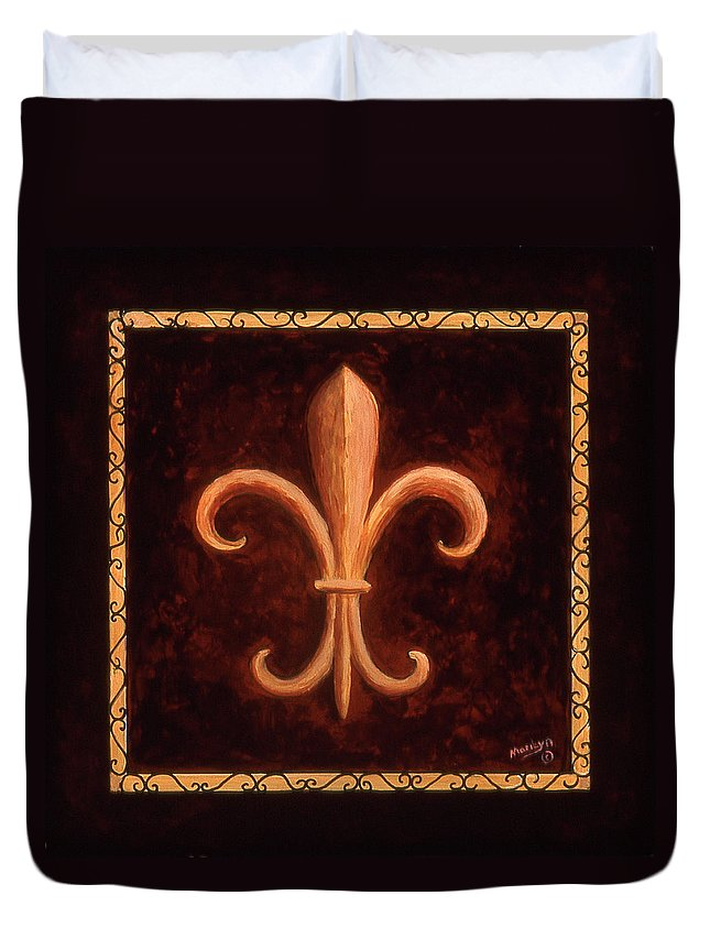 French Symbols Duvet Cover featuring the painting Fleur De Lys-king Louis Vii by Marilyn Dunlap