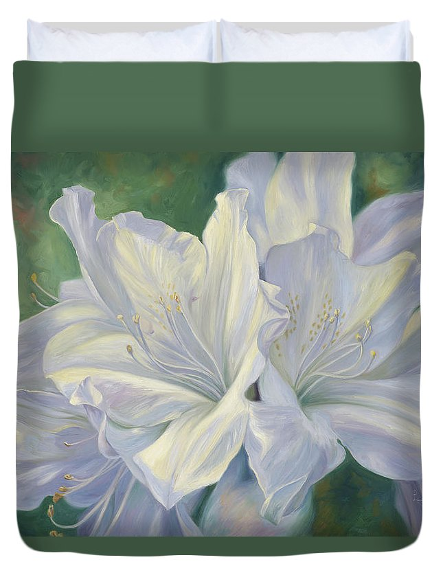 Flowers Duvet Cover featuring the painting Fleurs Blanches by Lucie Bilodeau