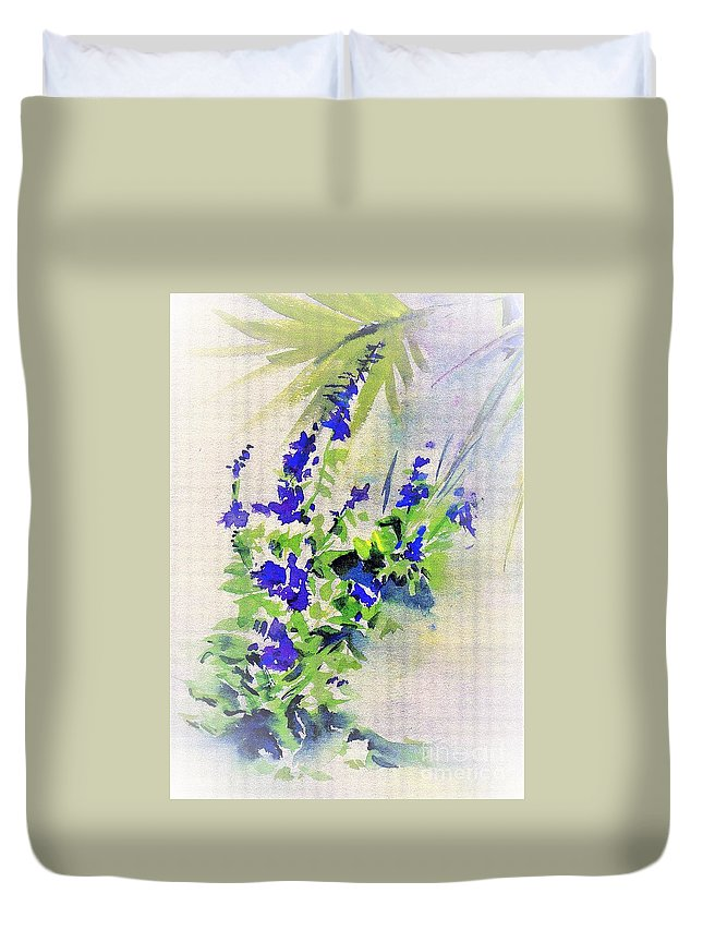 Flowers Duvet Cover featuring the painting Fleurs by Carliss Prosser