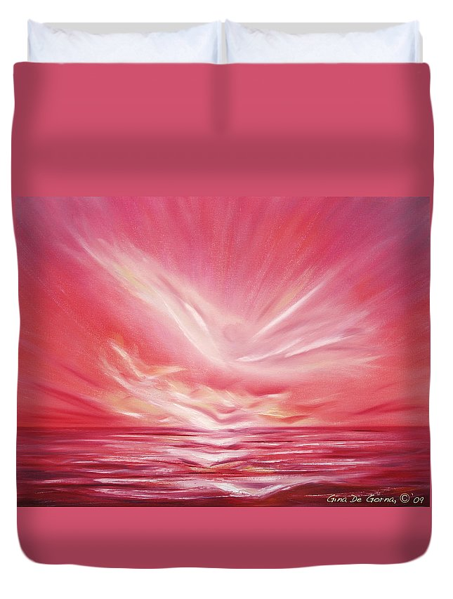 Sunset Duvet Cover featuring the painting Flight At Sunset by Gina De Gorna