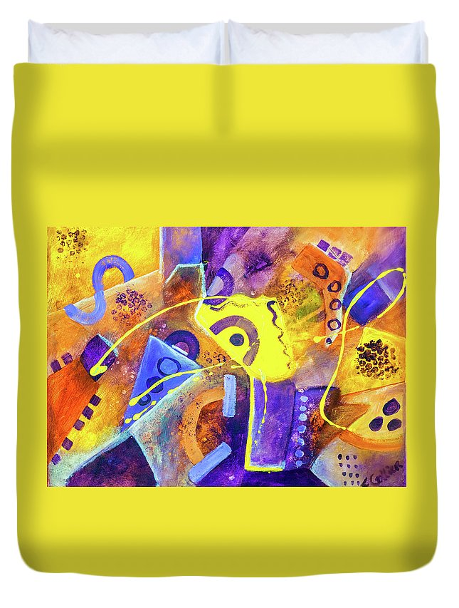 Colorful Duvet Cover featuring the painting Flight Of Ecstasy by Francine Collier