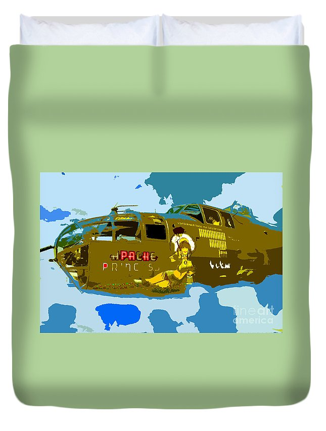 Bomber Duvet Cover featuring the painting Flight Of The Apache Princess by David Lee Thompson