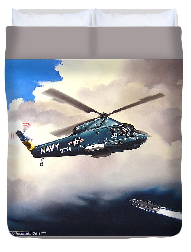 Military Duvet Cover featuring the painting Flight Of The Seasprite by Marc Stewart