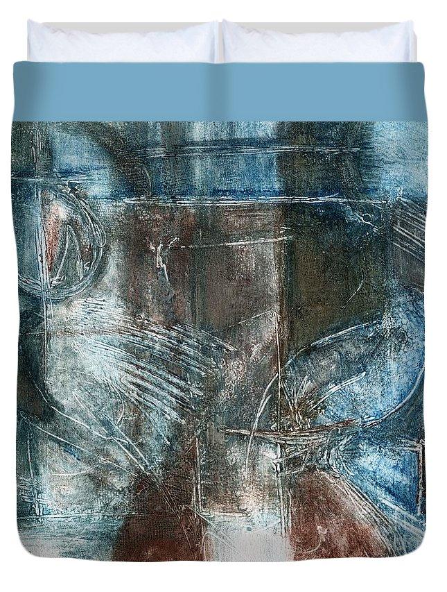 Flight Duvet Cover featuring the relief Flight Passage by Kerryn Madsen- Pietsch