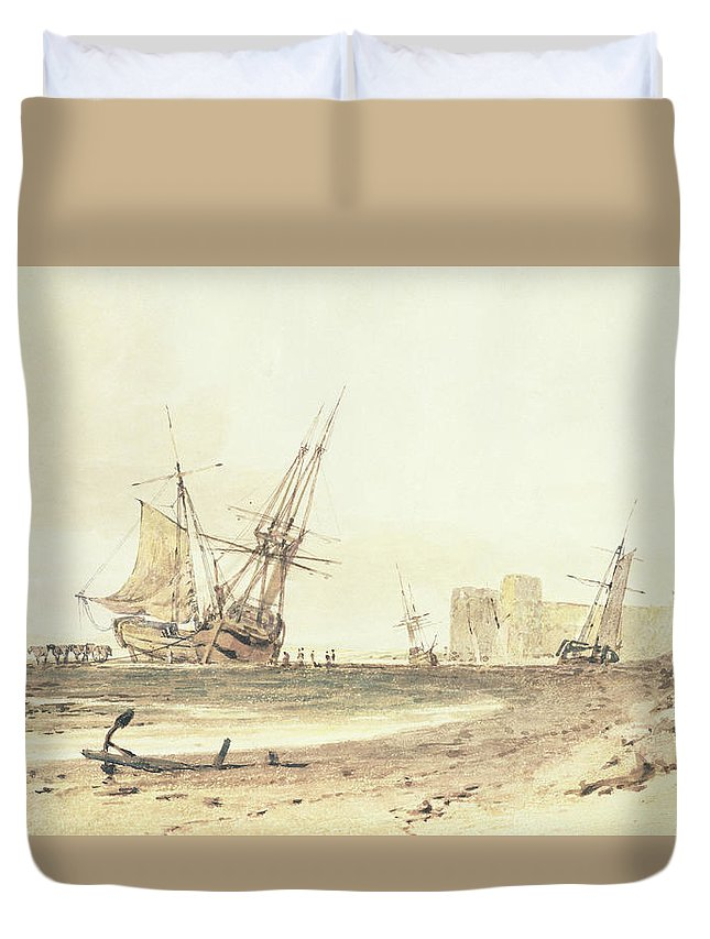Tuner Duvet Cover featuring the painting Flint Castle, Wales by Joseph Mallord William Turner