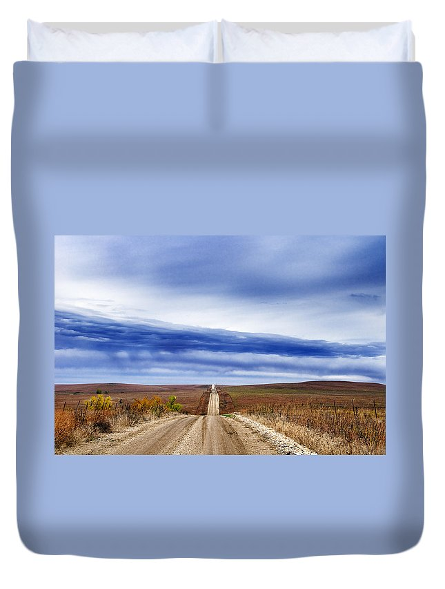 Road Duvet Cover featuring the photograph Flint Hills Rollers by Eric Benjamin