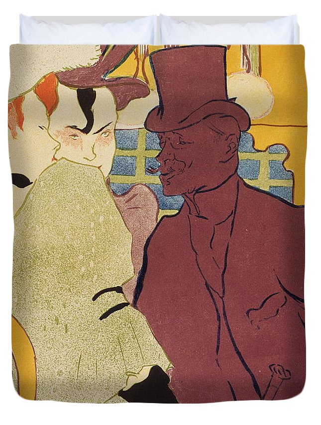 People Duvet Cover featuring the painting Flirt An Englishman At The Moulin Rouge 1892 by Henri De Toulouse Lautrec