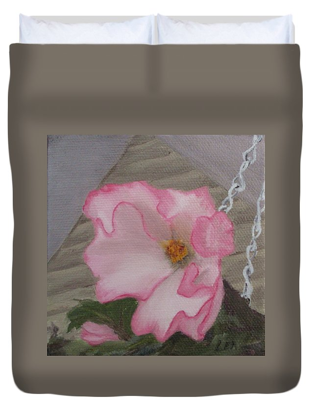 Flower Duvet Cover featuring the painting Flirty Begonia by Lea Novak