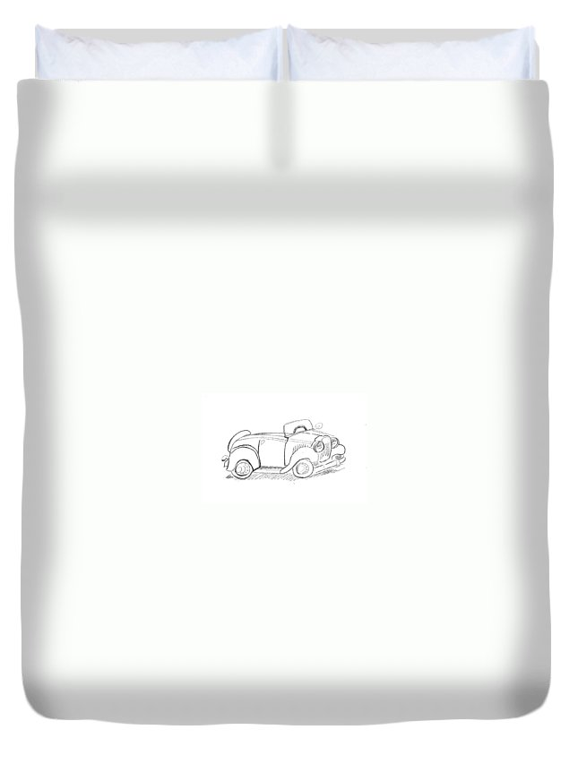 Old Car Duvet Cover featuring the drawing Fliver Car by Janet Lavida