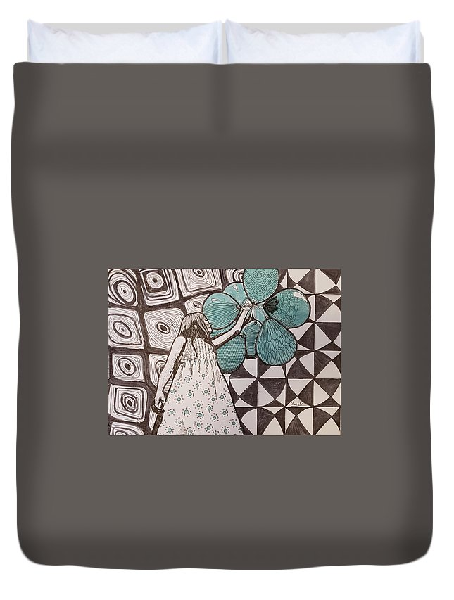 Balloons Duvet Cover featuring the drawing Float by Thanh Ha Nguyen-Maga