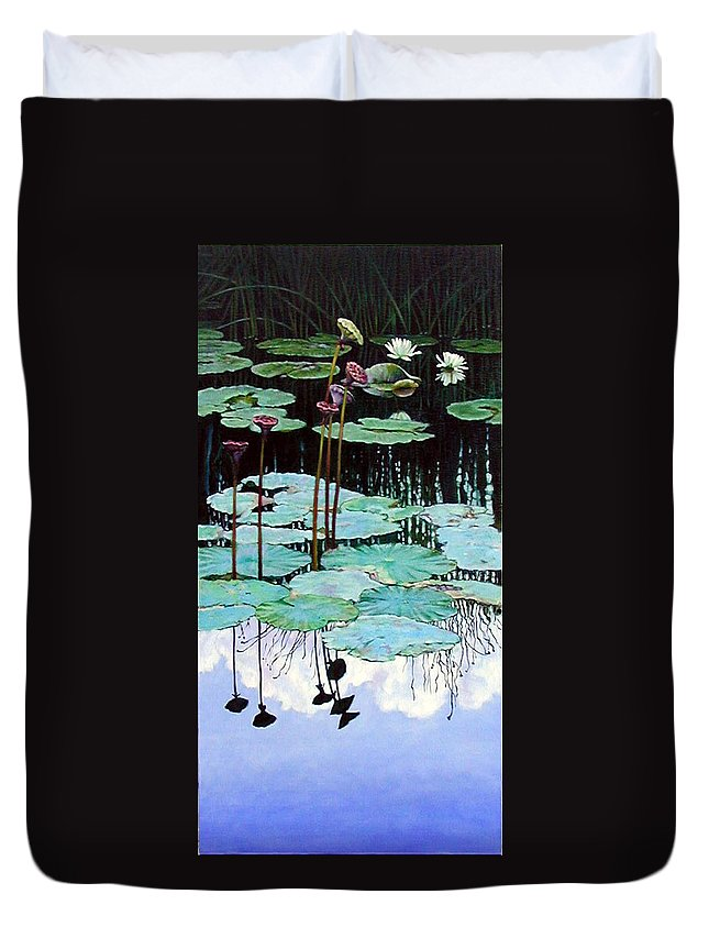 Water Lilies Duvet Cover featuring the painting Floating - Reflective Beauty by John Lautermilch