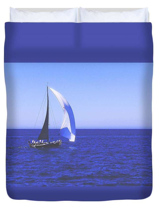 Boat Duvet Cover featuring the photograph Floating Away by Janu B