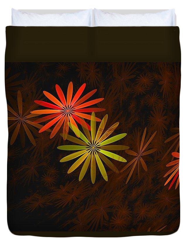 Digital Photography Duvet Cover featuring the digital art Floating Floral-008 by David Lane