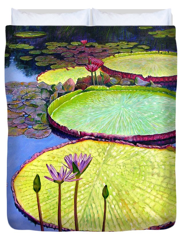 Garden Pond Duvet Cover featuring the painting Floating Galaxies by John Lautermilch
