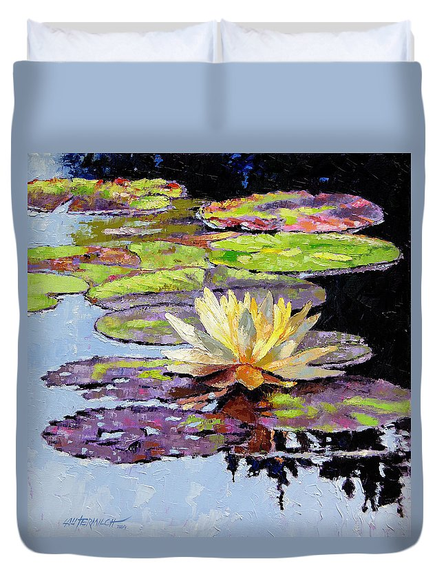 Golden Water Lily Duvet Cover featuring the painting Floating Gold by John Lautermilch