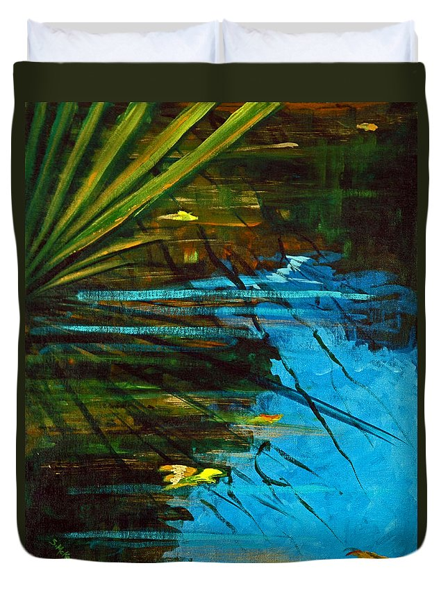 Acrylic Duvet Cover featuring the painting Floating Gold On Reflected Blue by Suzanne McKee
