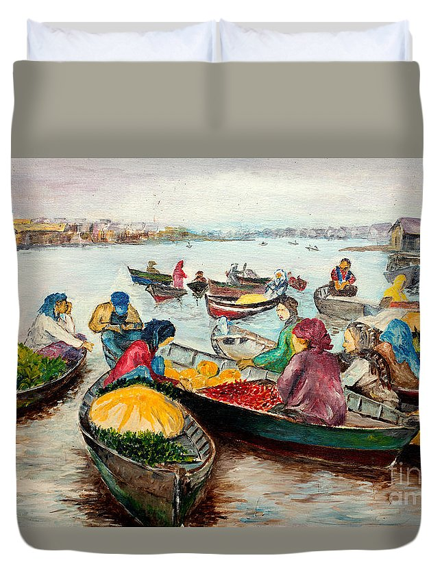 River Duvet Cover featuring the painting Floating Market by Jason Sentuf