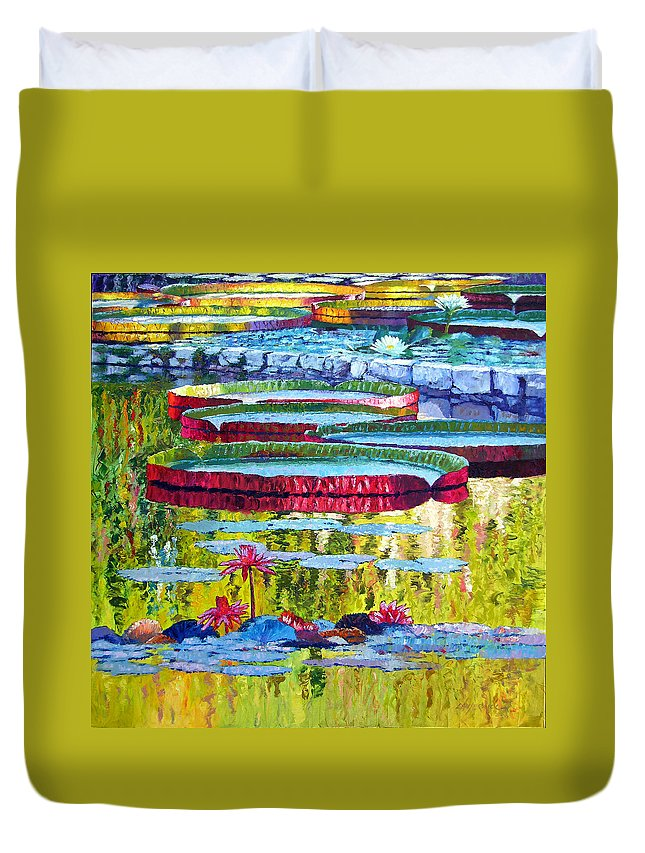 Lily Pond Duvet Cover featuring the painting Floating Parallel Universes by John Lautermilch